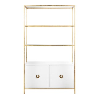 White Lacquer and Gold Leaf Etagere For Sale