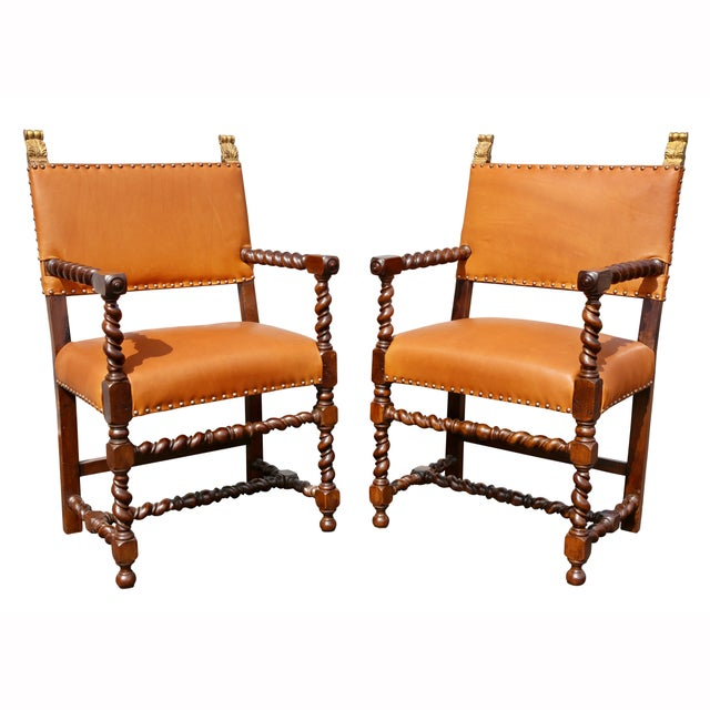Pair of Italian Baroque Walnut Armchairs For Sale - Image 13 of 13
