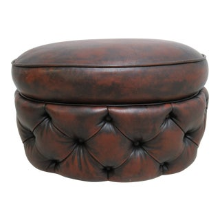 Modern Council Furniture New Orleans Leather Chesterfield Foot Stool Ottoman For Sale