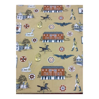 1950s Figurative Printed Cotton Twill Upholstery Fabric For Sale
