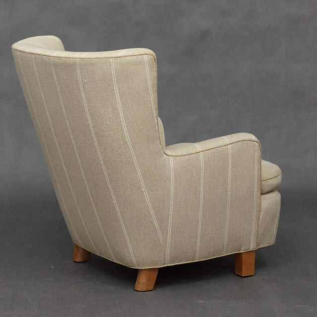 1940s 1940s Danish Wing Back Armchair in Thick Striped Wool For Sale - Image 5 of 9