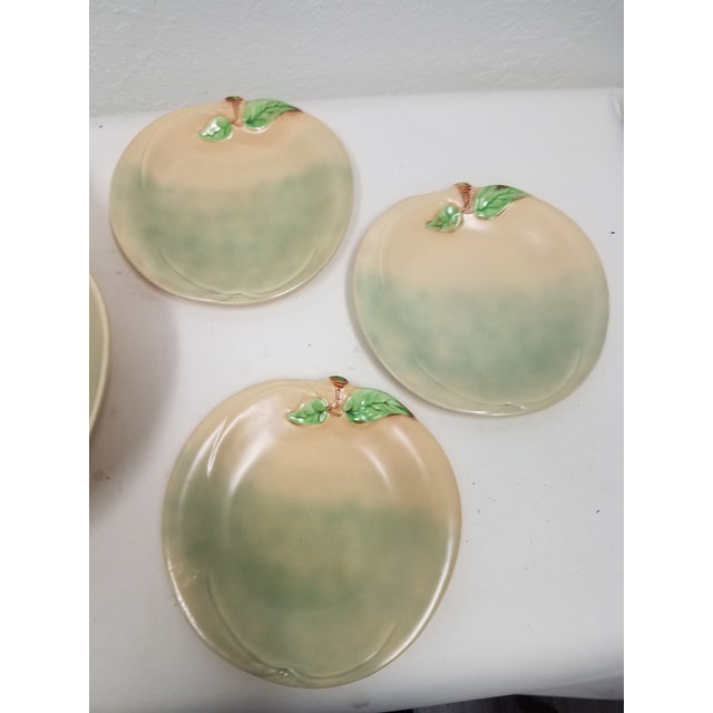 Vintage English Pear Bowl and Six Peach Plates For Sale - Image 4 of 13