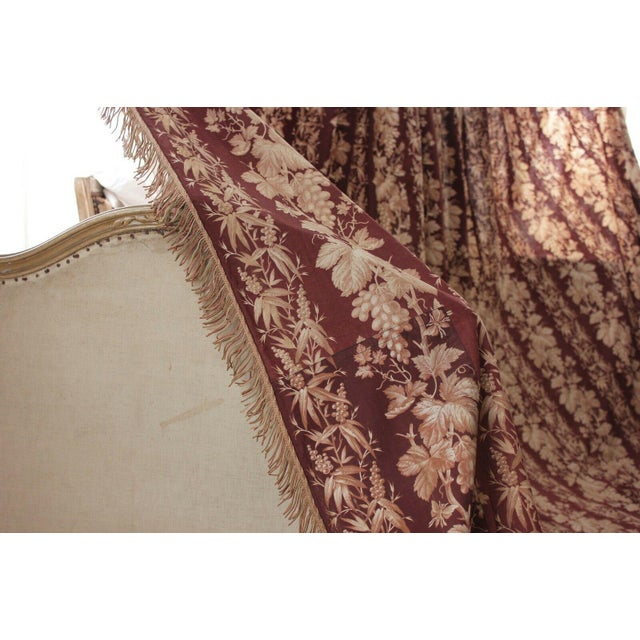 Antique 1870s French Large Printed Cotton Madder Brown Passementerie Bed Curtain For Sale - Image 4 of 9