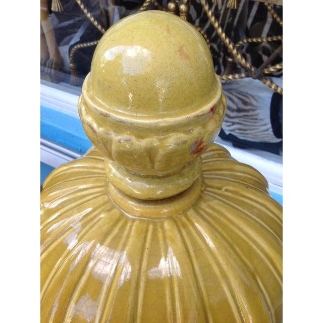 Yellow Pair of Massive Glazed Terracotta Garden Urns For Sale - Image 8 of 13