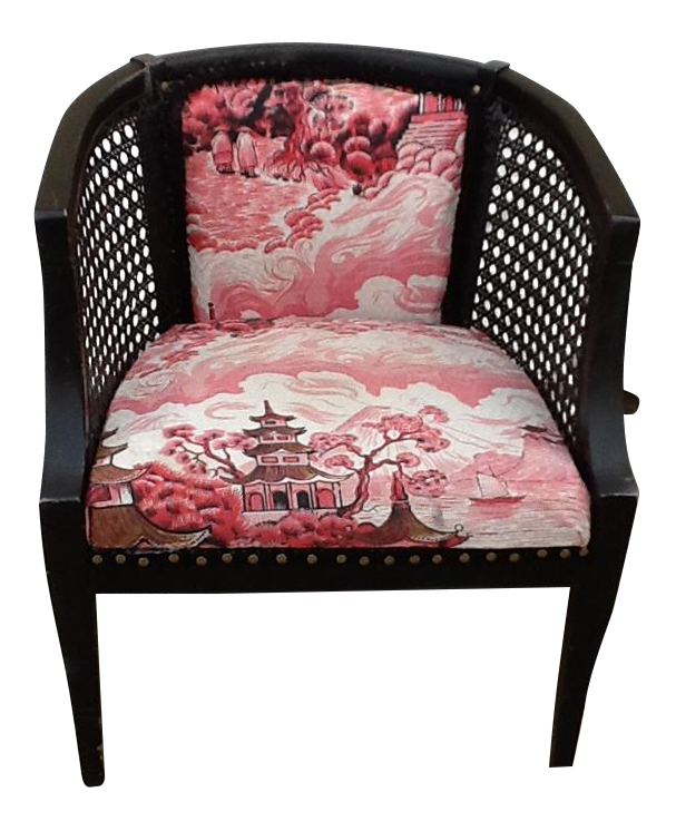 Mid Century Asian Chinoiserie Pink U0026 Black Barrel Cane Chair