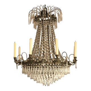 1940s Antique Vintage Brass French Empire Crystal Directoire Chandelier For Sale