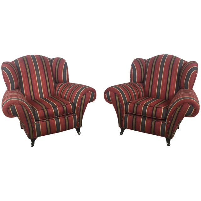 Kravet Club Chairs - A Pair - Image 1 of 11