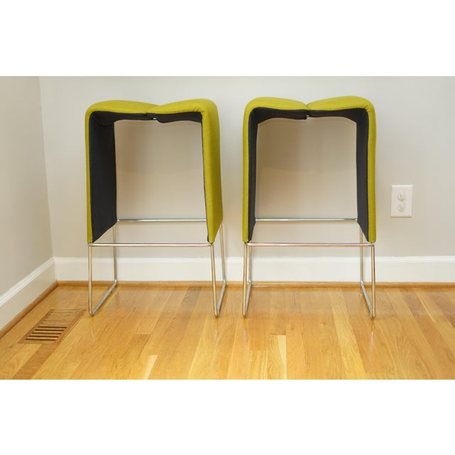 Metal B&b Italia 'Pyllon' Stool by Nicole Aebischer in Chartreuse- A Pair For Sale - Image 7 of 12