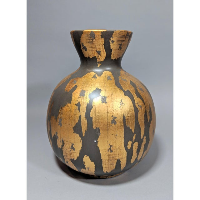 Ceramic Regency Gold Leaf and Charcoal Gray Vase - Large For Sale - Image 7 of 9