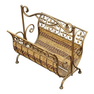 Vintage French Country Rush Brown & Gold Magazine Rack For Sale