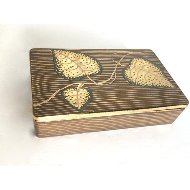 Hand-Painted Leaf Motif Trinket Box - Image 2 of 5