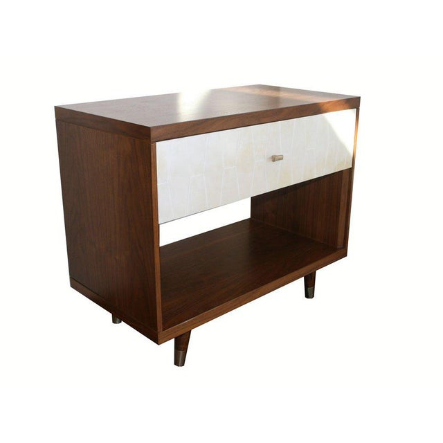 White Customizable Francois Walnut and Parchment Nightstands For Sale - Image 8 of 9
