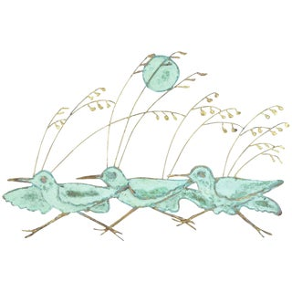 Vintage Running Birds Metal Wall Sculpture