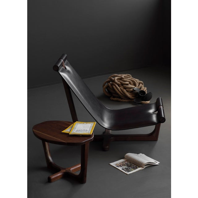 Modern Loft Walnut & Black Leather Armchair & Ottoman / Made in Europe - Image 9 of 10
