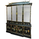 Image of Very Chic 20th Century Chinoiserie Pagoda Glass Front Cabinet For Sale