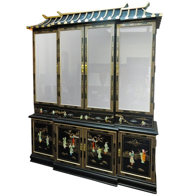 Very Chic 20th Century Chinoiserie Pagoda Glass Front Cabinet For Sale
