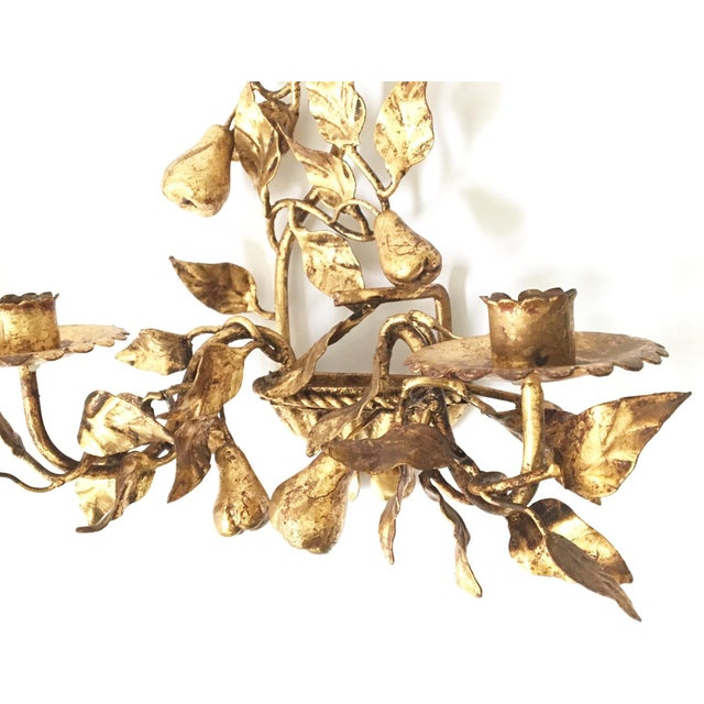 Italian Gold Gilt Tole Sconce Candle Holders- a Pair - Image 3 of 8