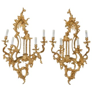 Pair of Italian Rococo Style Ormolu Girandole Mirrors For Sale
