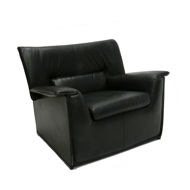 1980s Afra and Tobia Scarpa for B & B Italia Black Leather Lounge Chair For Sale - Image 5 of 7
