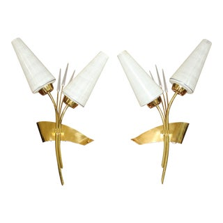 Monumental Pair Of French Wall Sconces By Maison Lunel 1950's For Sale