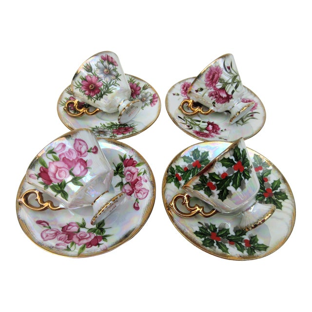 1960s Japanese Lusterware Flower of the Month Demitasse Cups and Saucers - Set of 4 For Sale