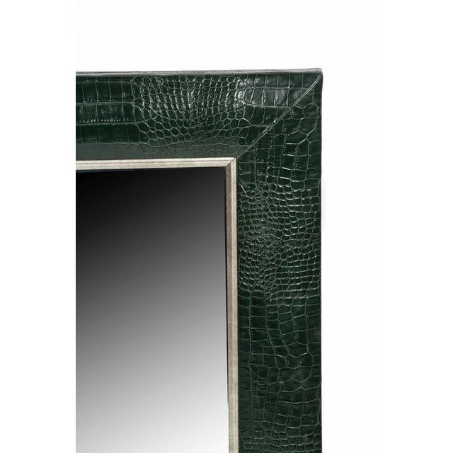 Contemporary Hunter Green Classic Crocodile Leather Framed Mirror For Sale - Image 3 of 5