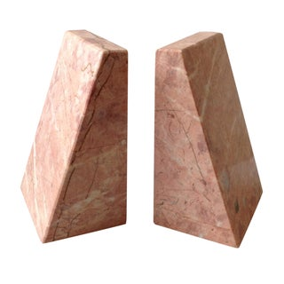 Pink Marble Architectural Bookends - A Pair For Sale