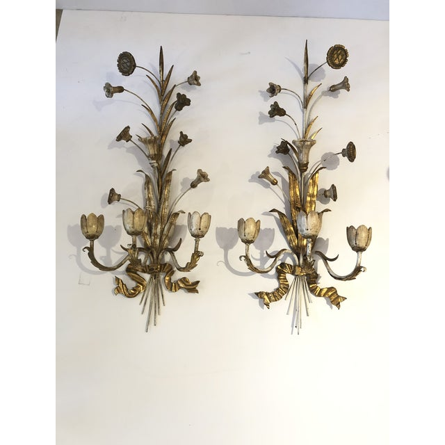 Gold Gilt Iron Carved Wood French Tulip Motife Candle Sconces -Pair For Sale - Image 13 of 13