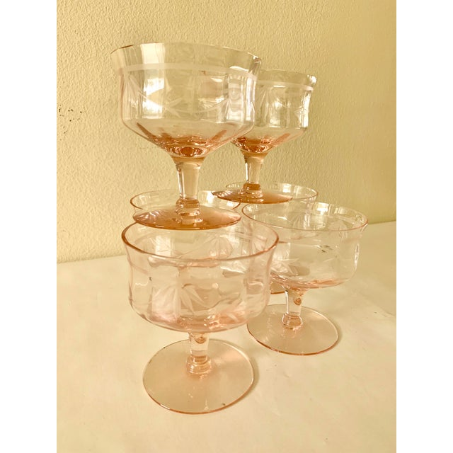 Blush Pink Etched Set of Six Vintage Champagne Cocktail Glasses For Sale In Los Angeles - Image 6 of 13