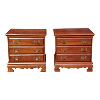 Vintage Pennsylvania House Solid Cherry Chest of Drawers End Tables Night Stands-A Pair For Sale