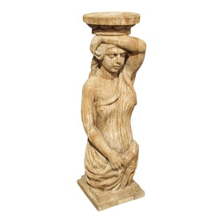 Carved Caryatid Statue or Pedestal, Early 20th Century For Sale