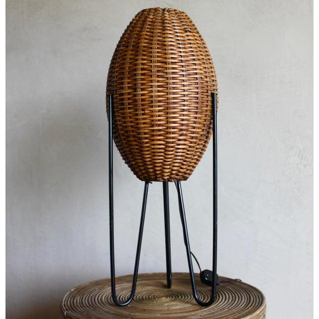 Paul Mayen Mid-Century Rattan & Iron Hairpin Floor Lamp For Sale - Image 13 of 13