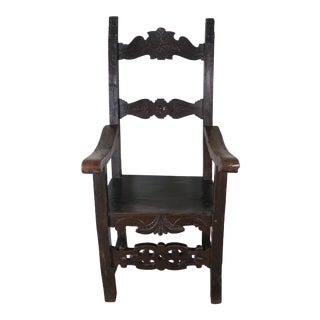 19th C. Carved Walnut Spanish Armchair For Sale