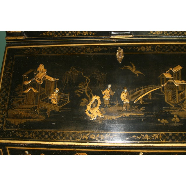 1900s Queen Anne Style Chinoiserie Gold Secretary Desk For Sale - Image 9 of 13