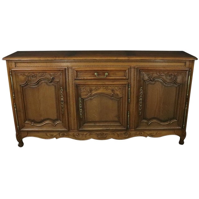 French Sideboard Normandy Antique French 1890 Carved For Sale - Image 3 of 11