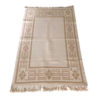 White/Beige Reversible Rug For Sale