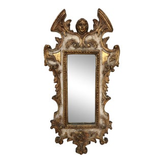19th-Century Italian Gilt Wood Hand-Carved Neoclassical Style Mirror For Sale