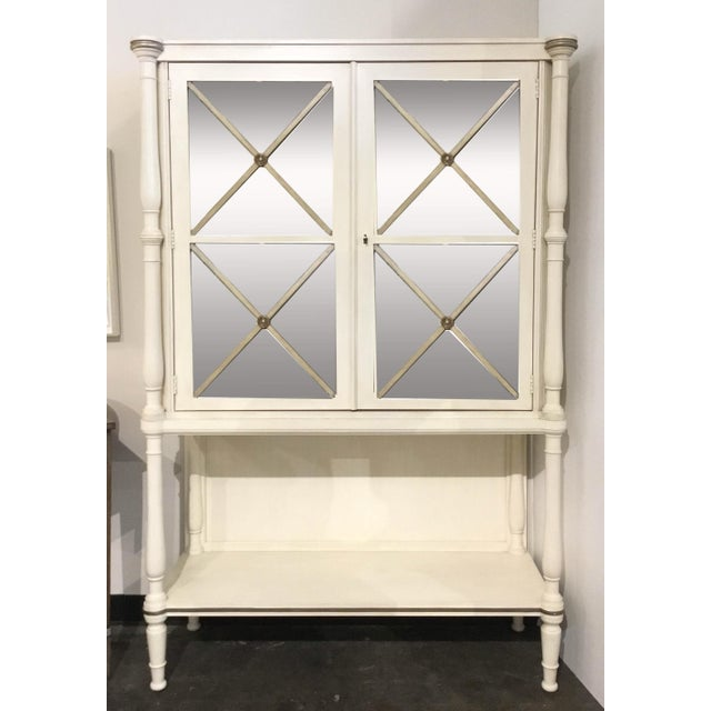 Wood Drexel Heritage Transitional White Wood and Mirrored Door Cabinet For Sale - Image 7 of 7