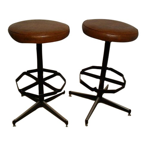 Vintage Mid-Century Modern Upholstered Iron Bar Stools -- A Pair - Image 1 of 5