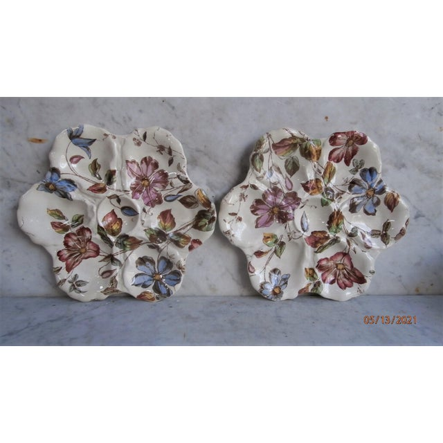 19th Century English oyster plate with flowers Adderley ware.