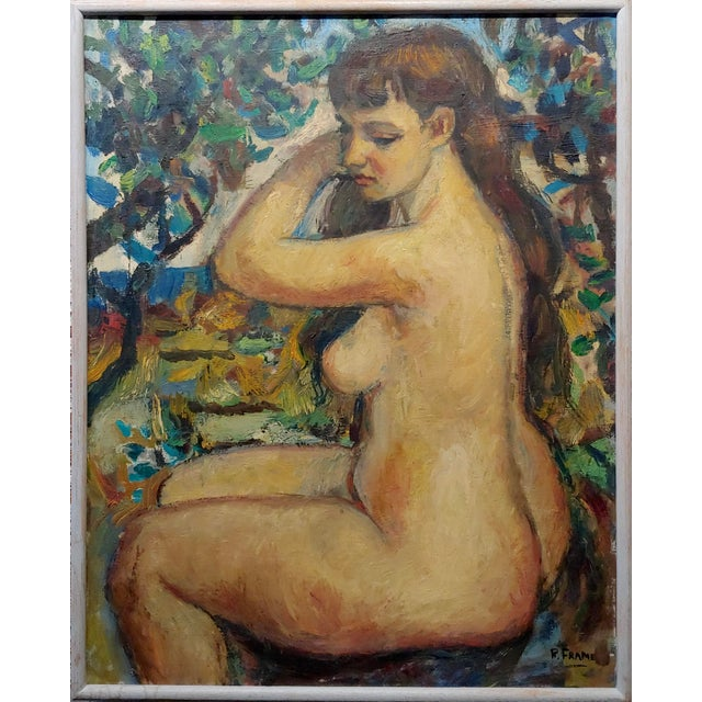 "Robert Frame - Young Nude Woman Seated - Oil painting oil painting on canvas -Signed frame size 23 x 29"" canvas size 22 x..."
