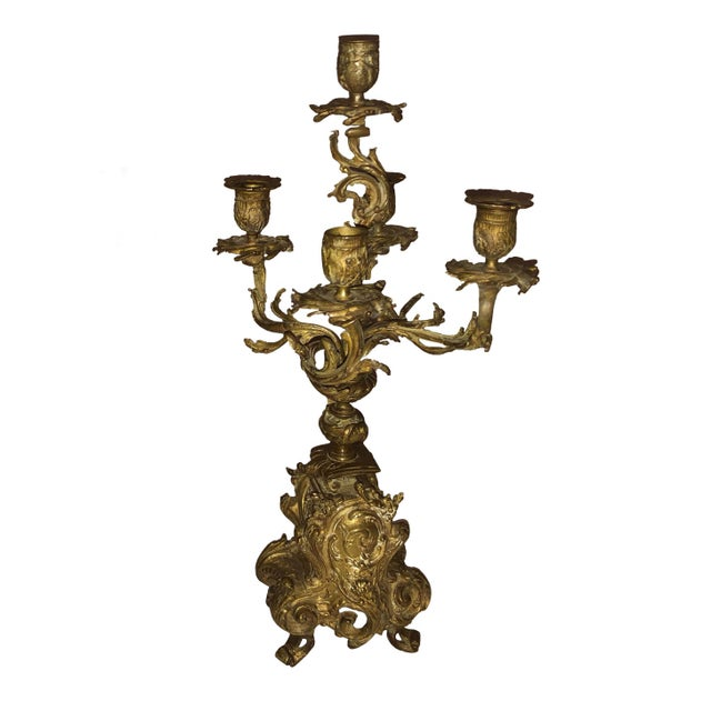 A pair of mid 19th century French ornate bronze candelabras. Circa 1860 to 1870.
