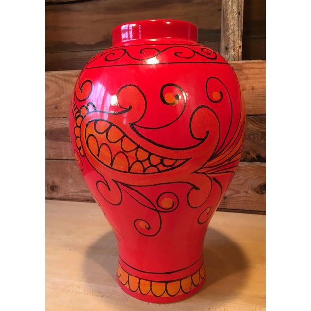 Italian Bellini for Raymor Red Pottery Floor Vase For Sale - Image 3 of 7