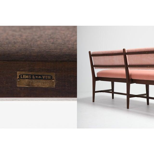 Pink Midcentury Scandinavian Modern Bench in Pink Velvet and Wenge For Sale - Image 8 of 9