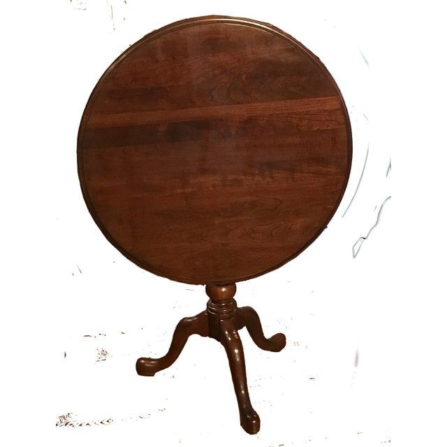 Ethan Allen Georgian Court Cherry Tilt Top Table For Sale In New York - Image 6 of 7