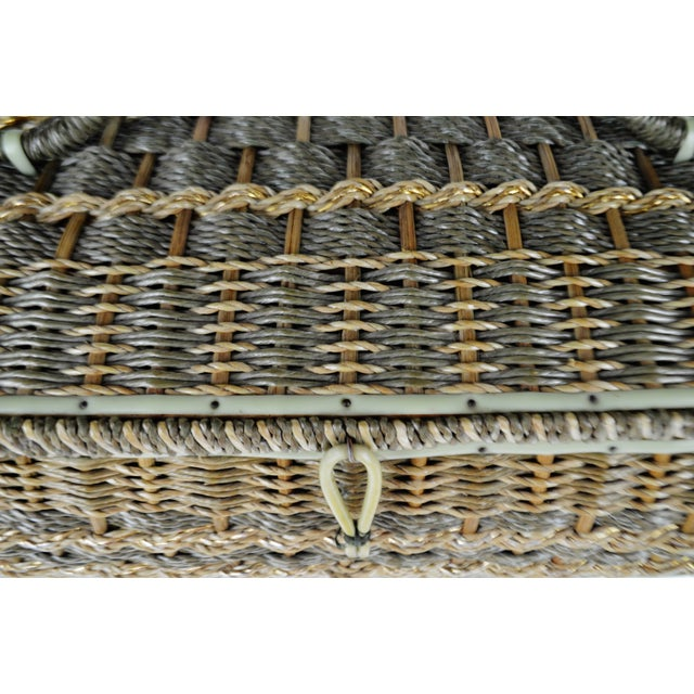 Green Vintage Japanese Wicker Sewing Basket For Sale - Image 8 of 13