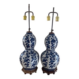 Large Chinese Blue and White Porcelain Double Gourd Lamps- Pair For Sale