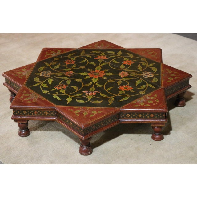 Painted Wooden Low Table from India C. 1920s.