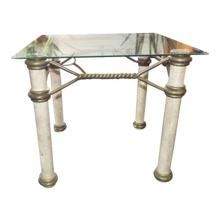 Hollywood Regency Glass Top Coffee Table With Brass Trim For Sale