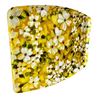 Midcentury Yellow Floral Serving Tray For Sale